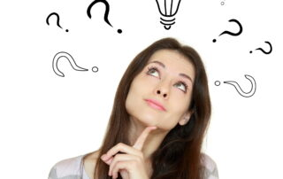 woman with question marks above head on white background