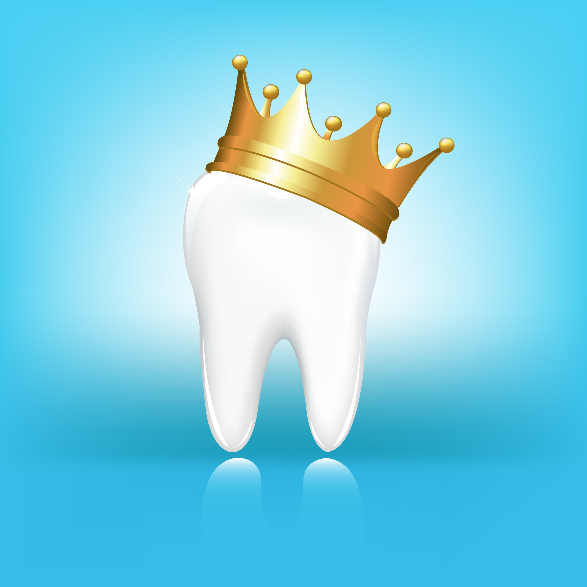 tooth crown with a gold crown on top on blue background